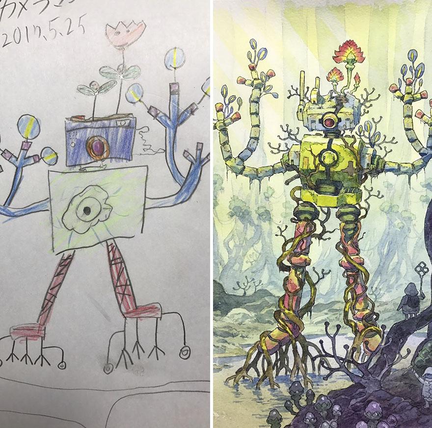 150295886884547 - 插畫家老爸把「兒子塗鴉的怪獸」重新畫一次,網友看到作品後大讚:「有神快拜!」