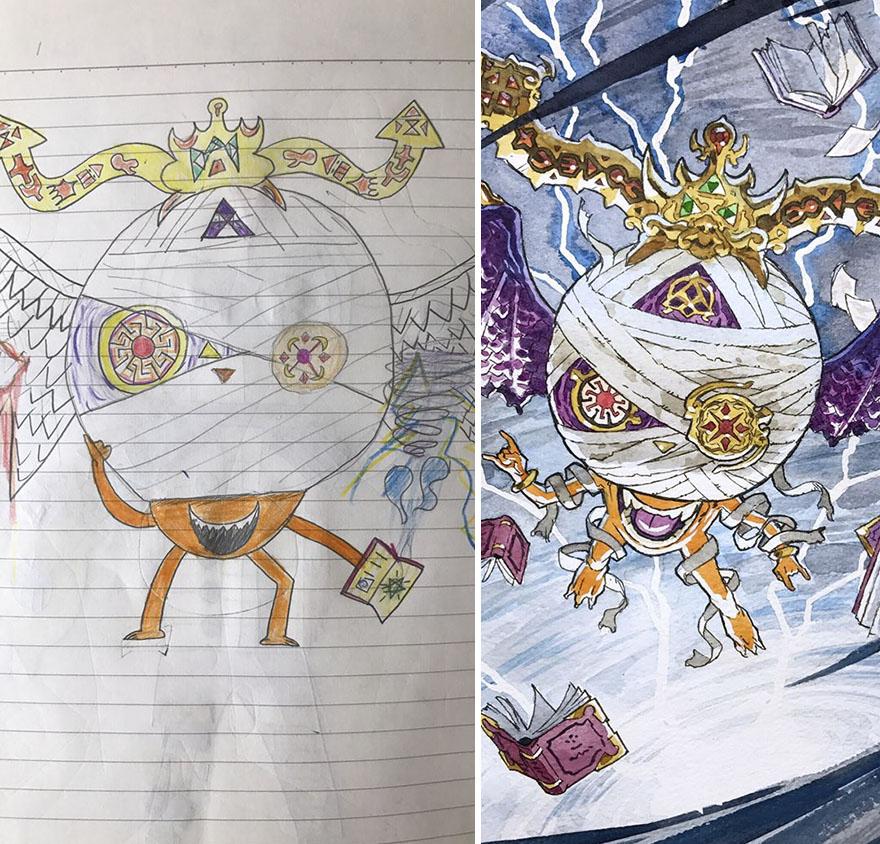 150295886930226 - 插畫家老爸把「兒子塗鴉的怪獸」重新畫一次,網友看到作品後大讚:「有神快拜!」