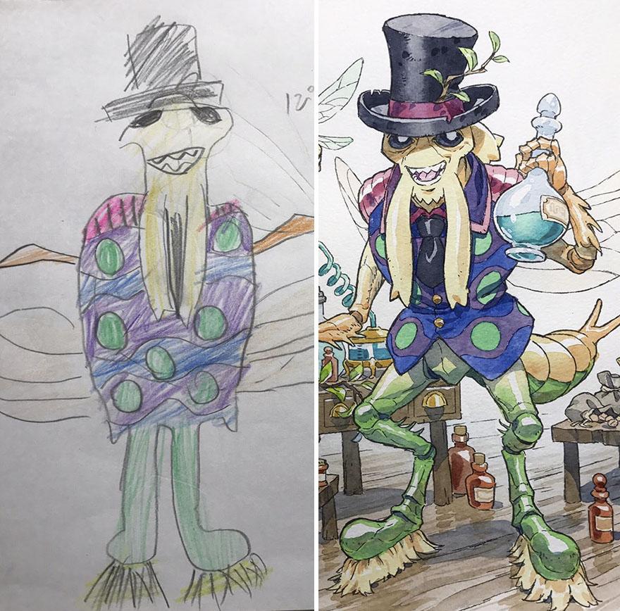 150295886980301 - 插畫家老爸把「兒子塗鴉的怪獸」重新畫一次,網友看到作品後大讚:「有神快拜!」
