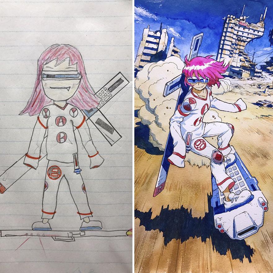 150295887497593 - 插畫家老爸把「兒子塗鴉的怪獸」重新畫一次,網友看到作品後大讚:「有神快拜!」