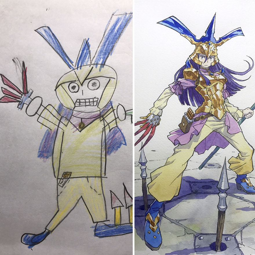 150295887951177 - 插畫家老爸把「兒子塗鴉的怪獸」重新畫一次,網友看到作品後大讚:「有神快拜!」