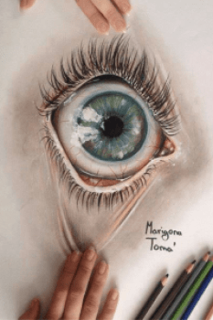 Drawing of a character's eye by Marigona Toma