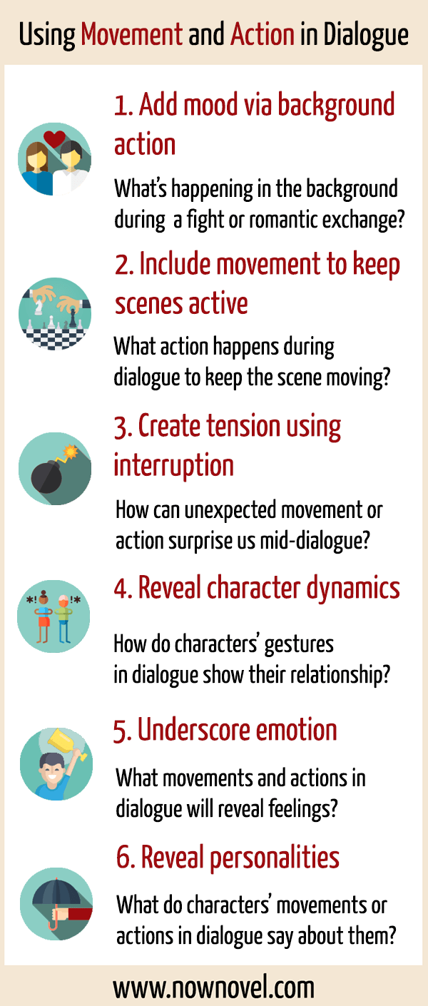 Writing Movement and Action in Dialogue: 28 Tips  Now Novel