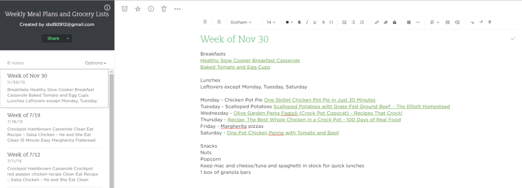 Evernote Weekly Meal Plans - Now One Foot
