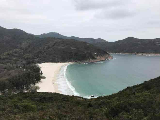Beach view while hiking in Hong Kong