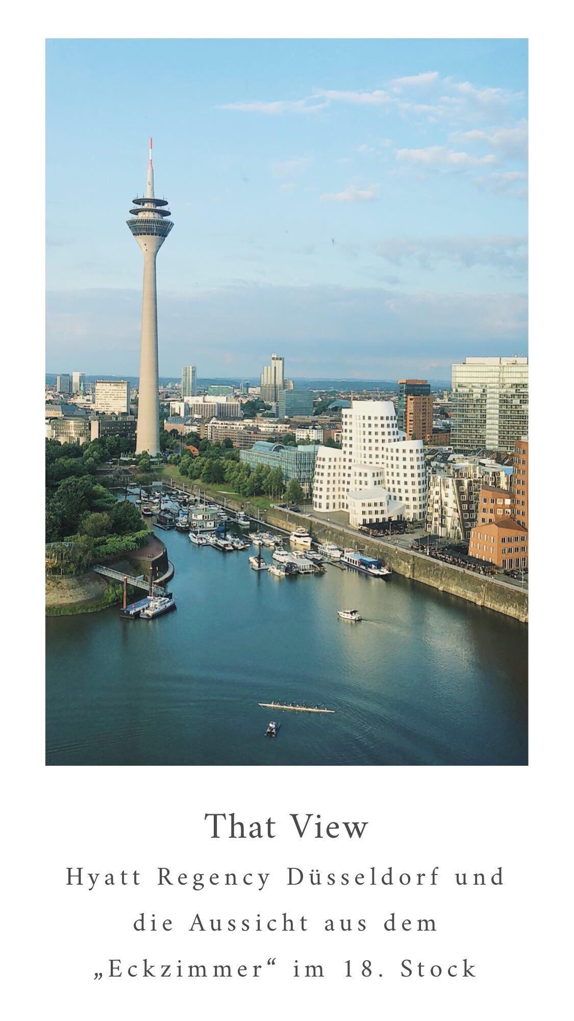 Aussicht aus dem Eckzimmer im 18 Stock des Hyatt Regency Düsseldorf - Nowshine ü40 Reiseblog