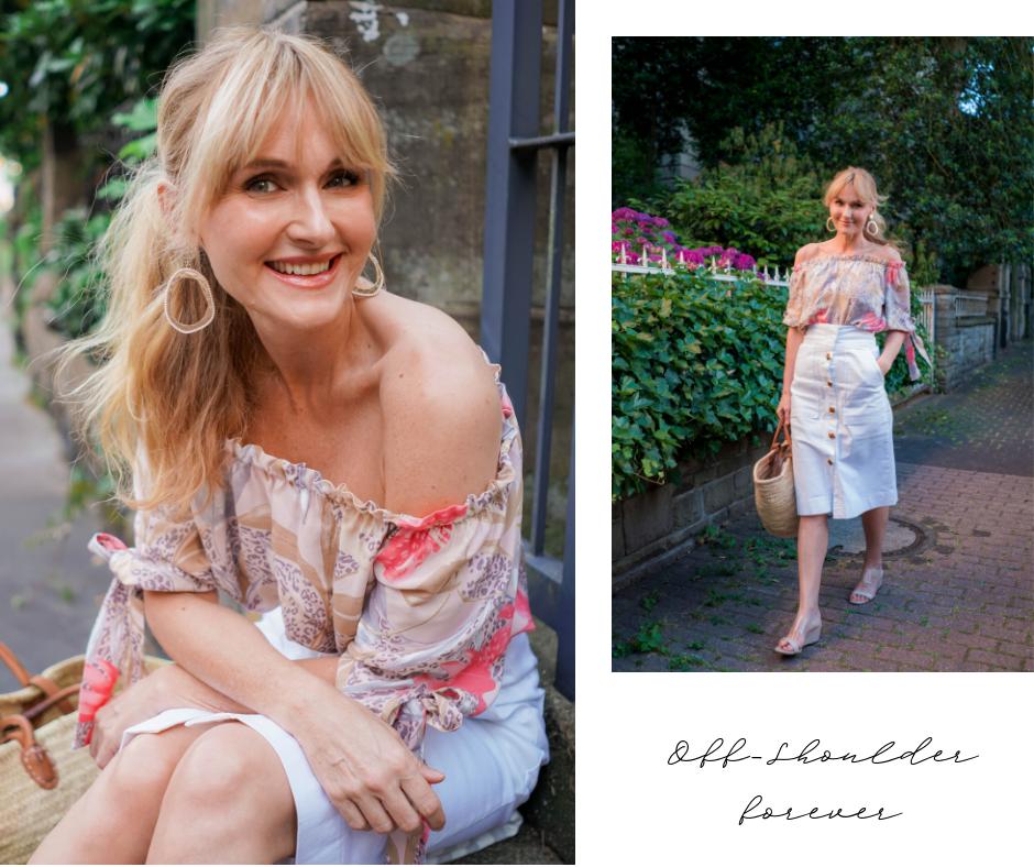 Sommerlook 2019 von Wenz, Nowshine in Off_Shoulder Bluse, Modeblog ü 40