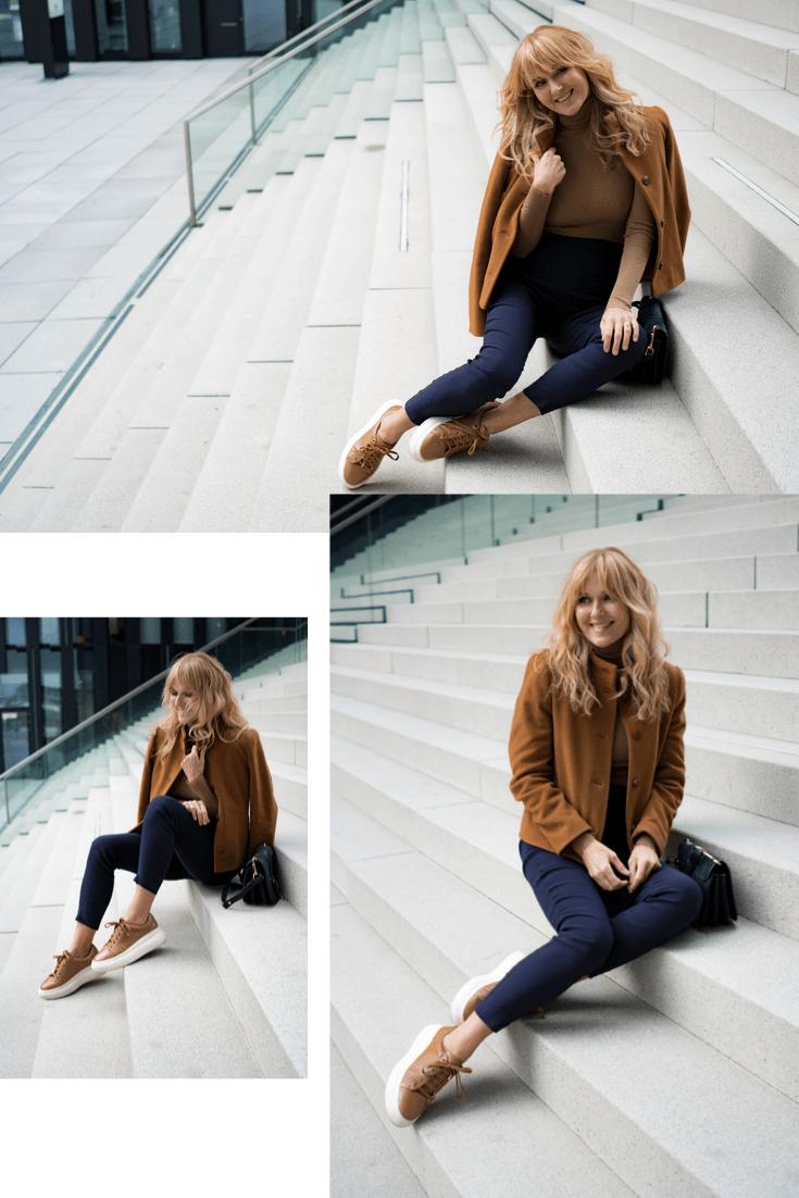 Schlupf-Hose Passfom Sylvia - Nowshine Modeblog ü40 - moderner Herbstlook 2019 in Cognac und Marineblau