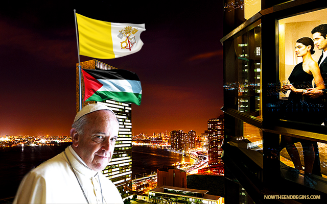 pope-francis-papal-visit-un-raises-vatican-city-flag-over-united-nations-false-prophet-catholic-church-palestine