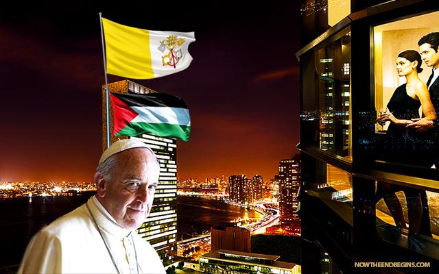 pope-francis-papal-visit-un-raises-vatican-city-flag-over-united-nations-false-prophet-catholic-church-palestine