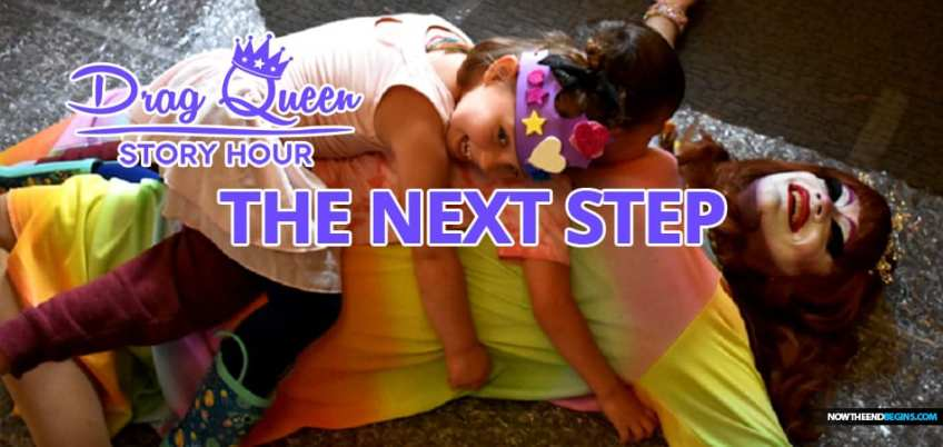 Shocking photos: Kids lie on man dressed as woman at 'Drag Queen Story Time'