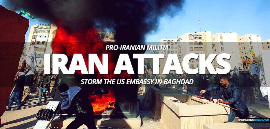 President Donald Trump has vowed to hold Iran 'fully responsible' for an attack on the US embassy in Baghdad today, where hundreds of pro-Iran militia members stormed the compound in retaliation for American air strikes.