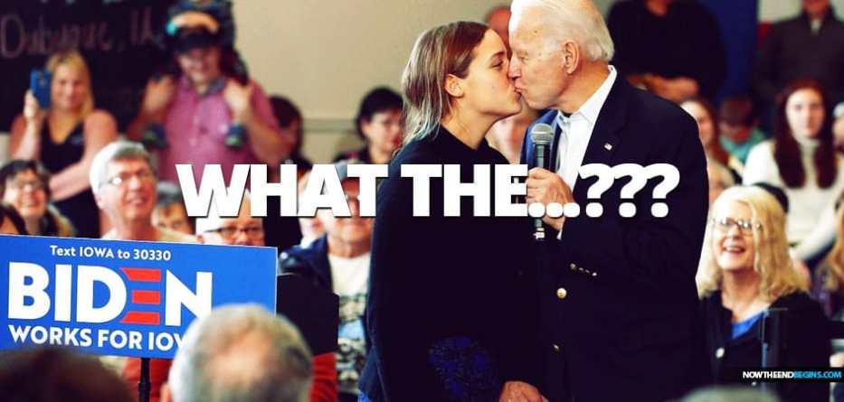 Creepy Joe Biden kisses granddaughter Finnegan on the mouth during Iowa caucus