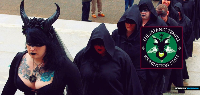 Congregants from the Seattle-based Satanic Temple of Washington State drew a crowd of prayerful onlookers Friday as they hoisted their pentagram and conducted a satanic ritual at the state Capitol Friday, March 6.