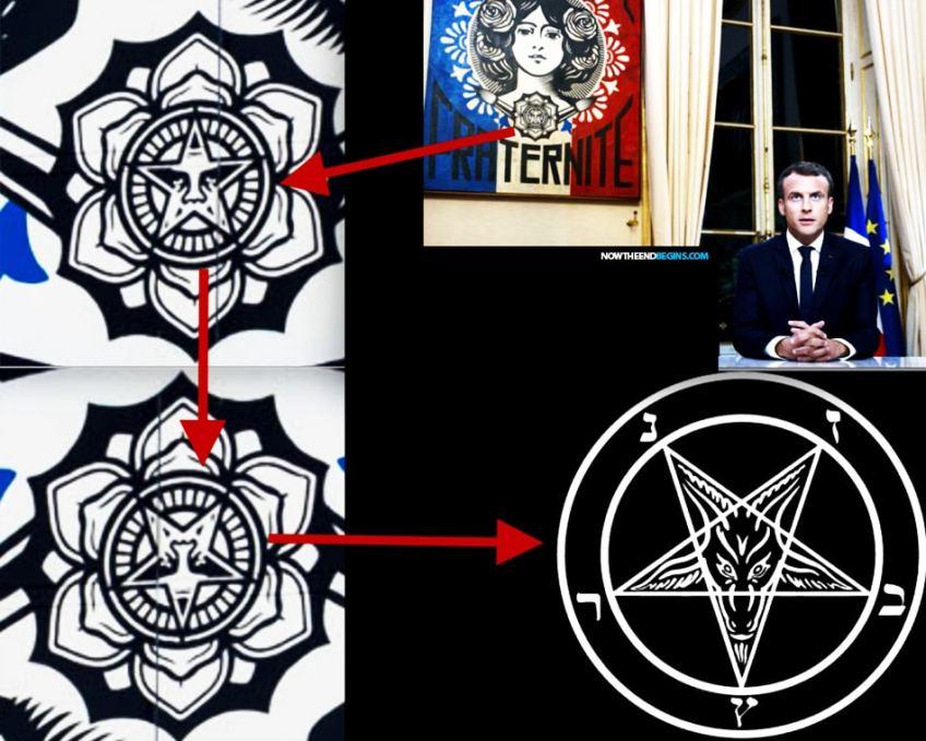 emmanuel-macron-obey-giant-painting-baphomet-antichrist-satan