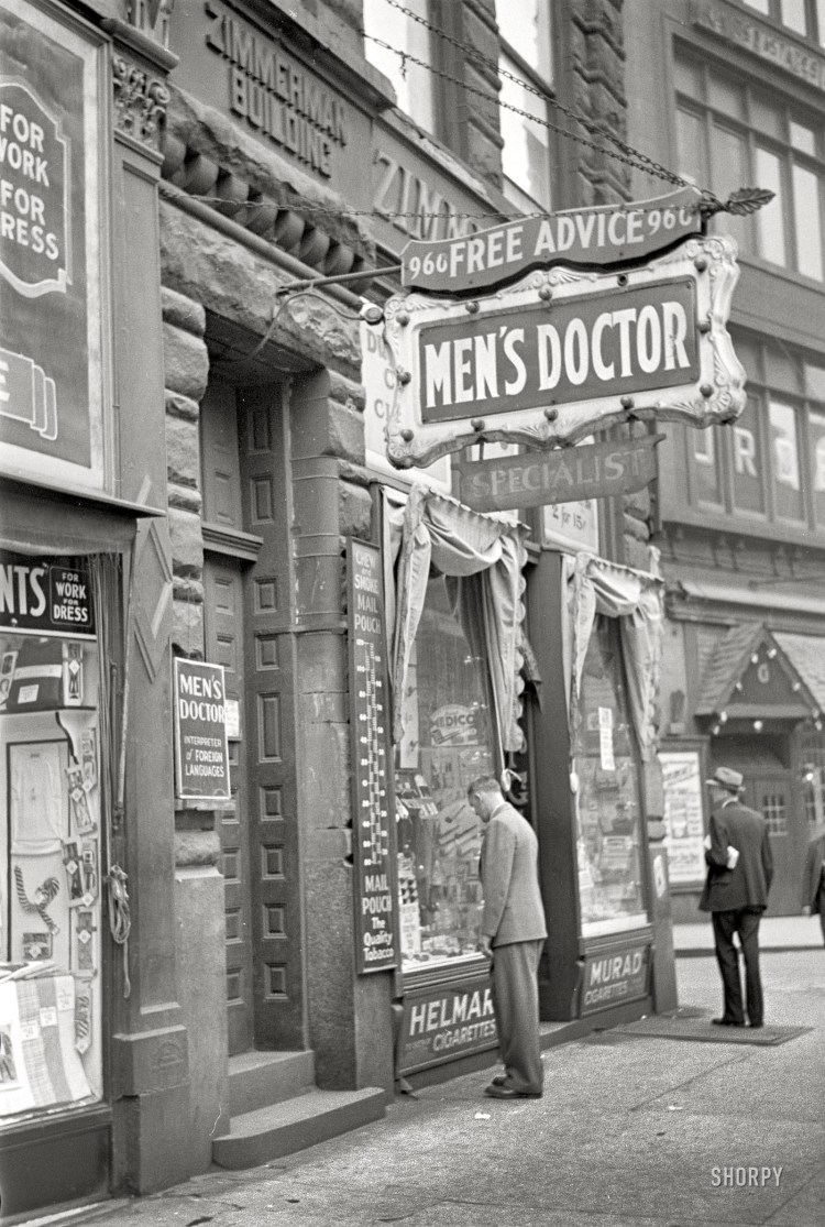 The benefits of smoke would be seen well into the 20th Century by Pittsburghers. A tobacco shop thrives in 1938 below a medical specialist's office downtown. Note the Medico pipe rack in the display window. This site was among buildings on Liberty Avenue torn down in 2005. The August Wilson Center is there now. Free advice can be lethal. The Pittsburgh Press reports in its Sept. 15, 1939 edition that a South Side man treated for venereal disease went up to this doctor's office and shot him to death. He told police the doctor bled him of his money for 15 years, and told him he was cured when he wasn't. Be sure to click on this photo, and then a second time. It enlarges quite a bit.