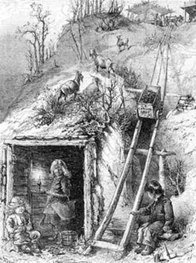 "In ""A Family Coal Mine, a Pittsburgh Sketch,"" children remove coal from an abandoned mine on Coal Hill (Mount Washington). The wood engraving by Harry Fenn appeared in an 1871 issue of Every Saturday magazine."