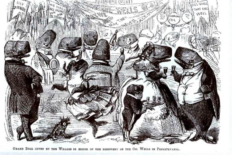 """Whales celebrate the news out of Pittsburgh that whale oil was no longer needed for lamps. The illustration is from Vanity Fair, published in England in 1861. The banners say, """"Oils Well That Ends Well,"""""""