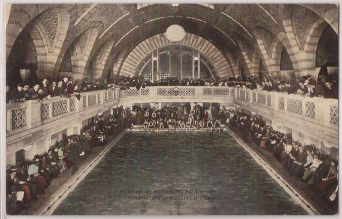 Postcard shows main pool of Pittsburgh Natatorium