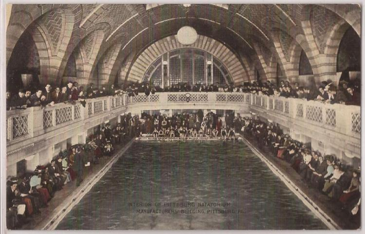 Postcard shows main pool of Pittsburgh Natatorium