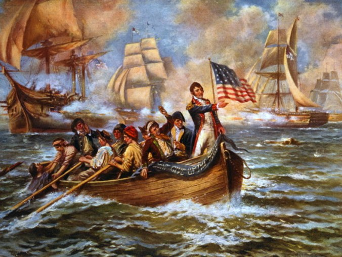 """Perry, with his battle flag """"Don't Give Up the Ship"""" after he gave up his ship in the battle of Lake Erie. Perhaps the painter and other patriots thought Perry was true to his motto because he got another ship to win back the one he abandoned."""