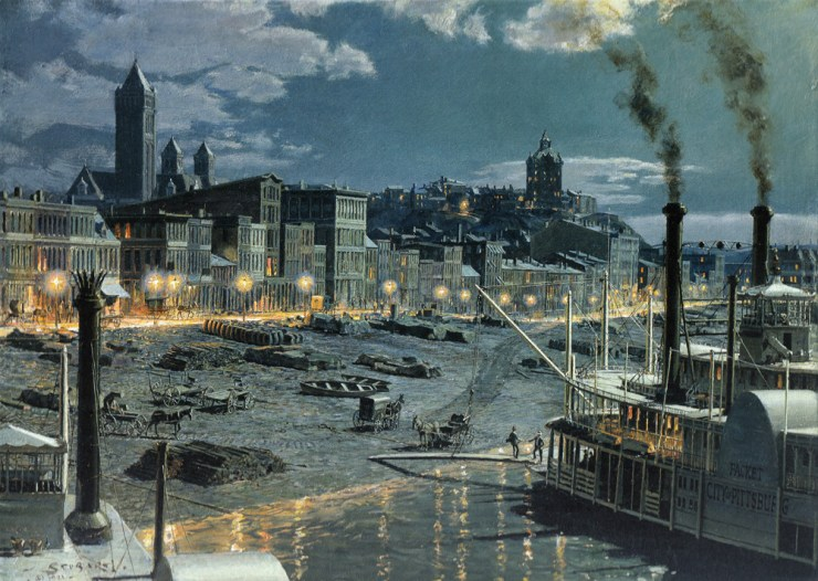 Pittsburgh, as it would have looked to Parton for the brief time the smoke cleared a little. This print and several similar ones of Pittsburgh river scenes by John Stobart are available at Three Rivers Art Gallery downtown. This view shows gas lights along Water Street (now Fort Pitt Boulevard). The courthouse tower rises on the left. Duquesne University stands atop the Bluff at right. Just below it is the Monongahela House where Parton stayed in 1866. Be sure to click on the photo to zoom in on the details, particularly along the wharf.