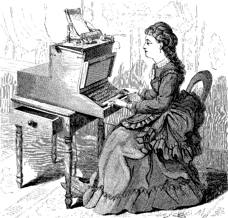 Early Sholes typewriter. The user looks much like his daughter who was featured in other promotional illustrations.