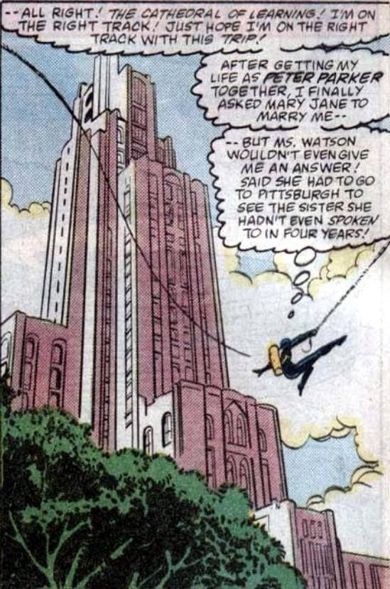 In 1987, Spider-Man (AKA Peter Parker) followed his runaway love from New York to Pittsburgh, which had just been declared the nation's most livable city. The other reason he came is that Jim Shooter, top editor at Marvel Comics, is a Pittsburgh native. Steve Ditko, a Spider-Man co-creator, is from Johnstown.