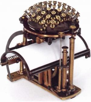 Do you think the look of the typewriter was a foregone conclusion. That it couldn't have looked any other way? This photo will change your mind. The Writing Ball was prototyped by Danish inventor Rasmus Malling-Hansen in 1865. It went into production in 1870. It probably was good for those trained in the use of crystal balls.