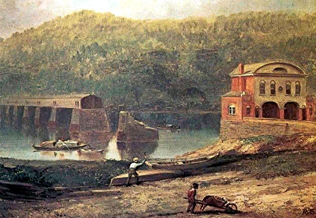 The Monongahela Bridge in 1832 after being damaged by a runaway boat. Thirteen years later it burned during the Great Fire of 1845 and was replaced with something that wouldn't burn.