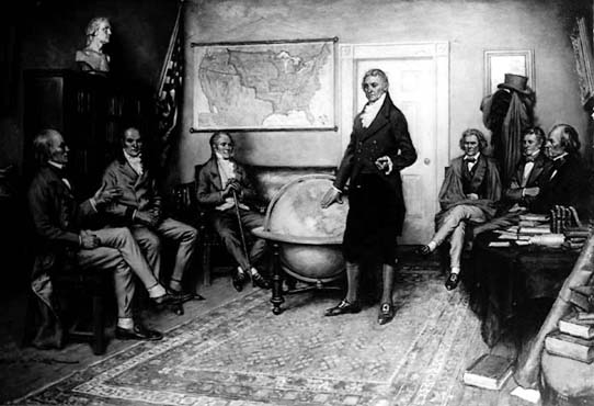 President Monroe depicted discussing the Monroe Doctrine with his cabinet. That doctrine told Europe the Western Hemisphere was no longer part of their sphere of influence. It belonged to the U.S.