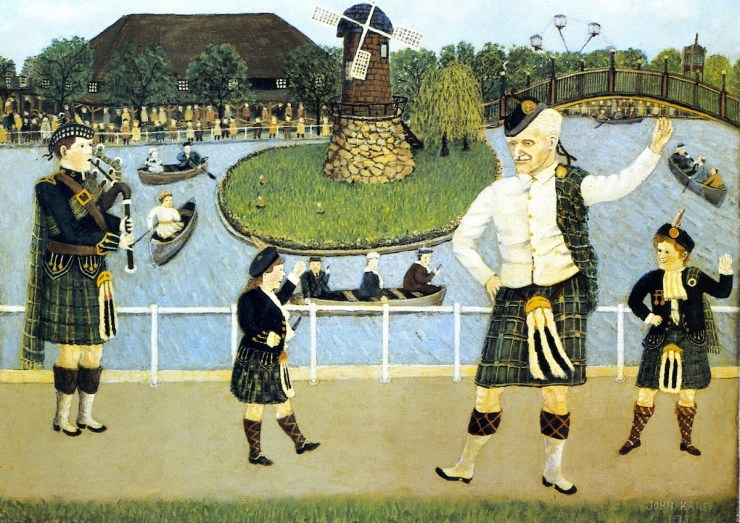 """Scots Day at Kenywood"" sold at auction in 1981 for $23,000. That is the highest price I have found for a Kane painting. His works in museums undoubtedly would fetch much higher amounts. You can still get Kane paintings for as little as $600 at auction, though."