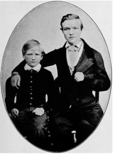 Andrew Carnegie, right, a year after he became a telegraph messenger, with his brother, Thomas.