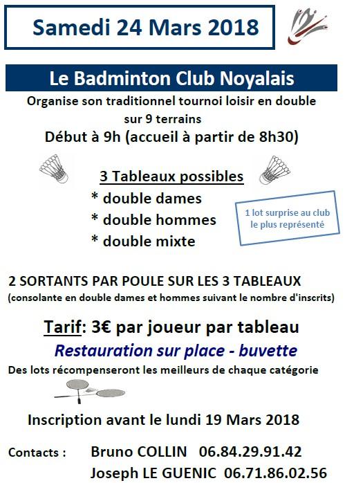 Tournoi loisir Badminton Club Noyalais