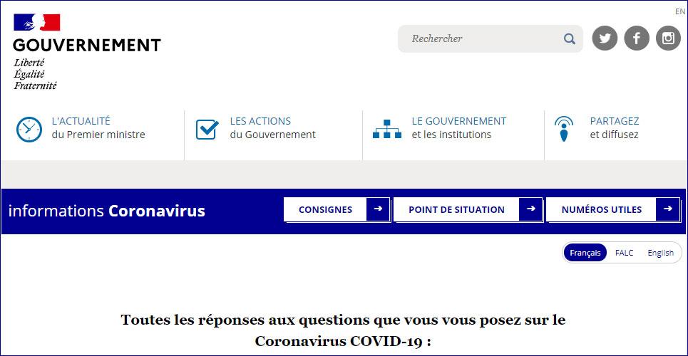 gouvernement info coronavirus