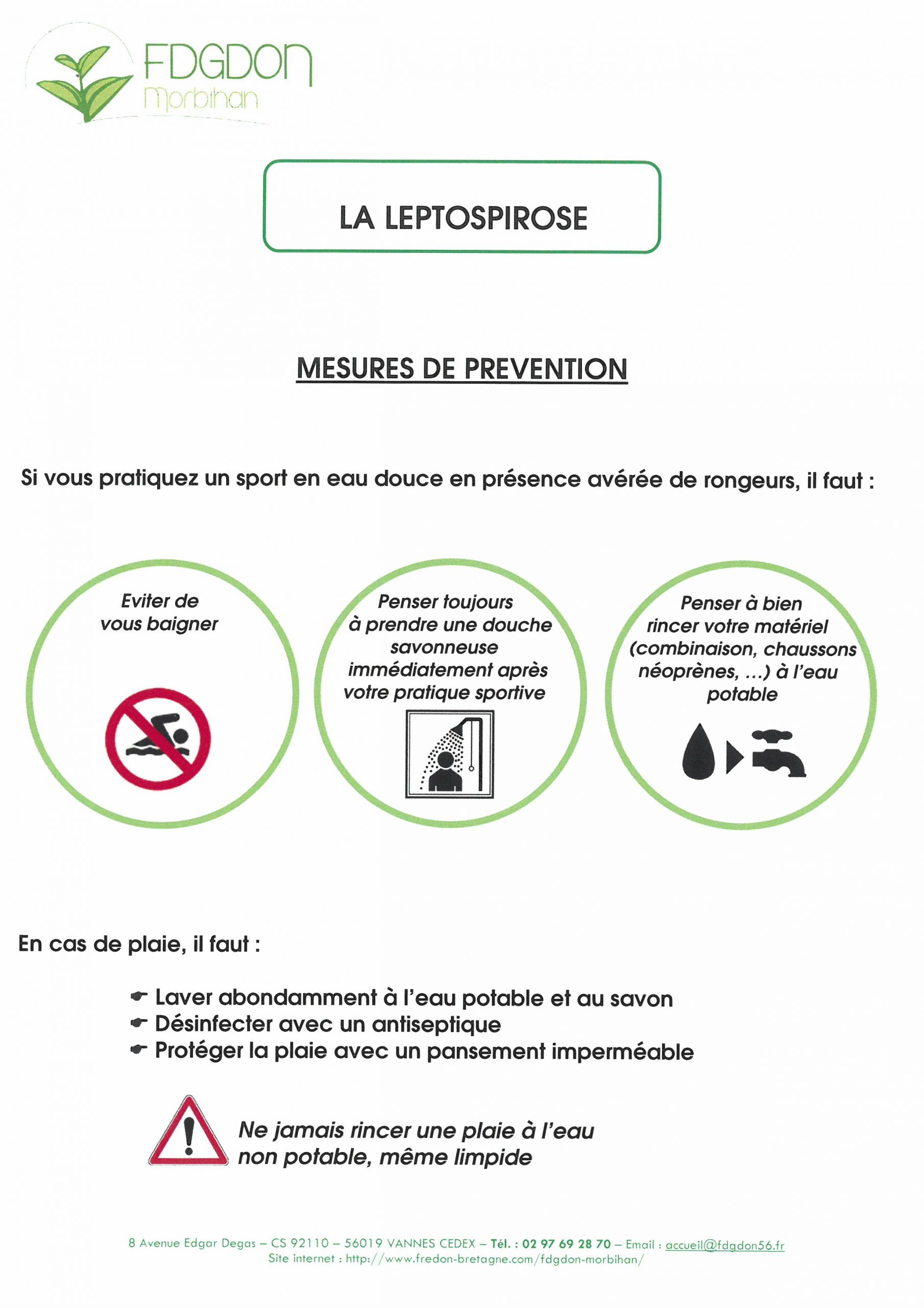 la leptospirose mesure de prévention