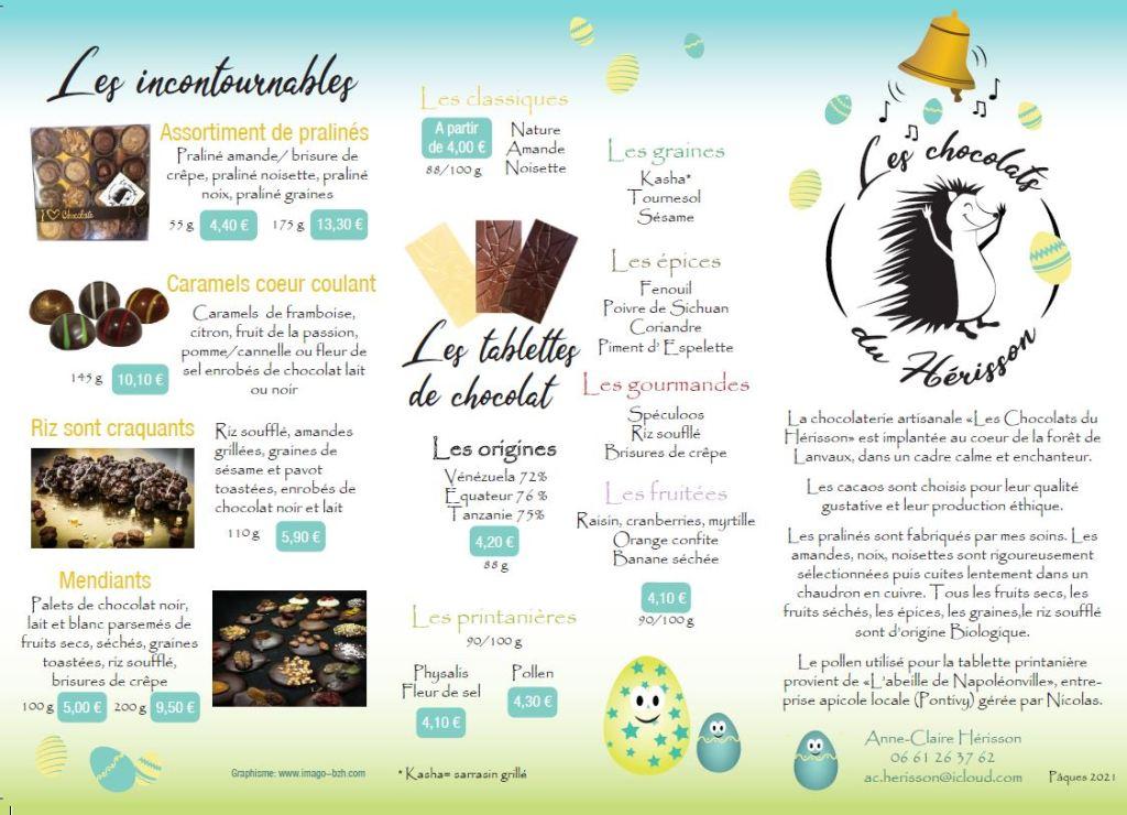 Plaquette des chocolats du Hérisson