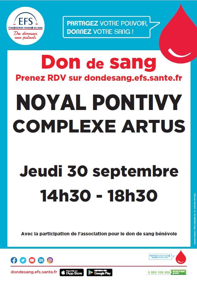 affiche collecte de sang Noyal-Pontivy