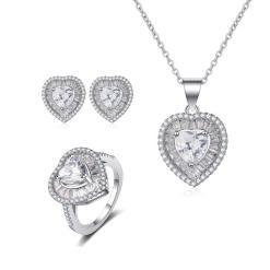 """סט תכשיטים """"לב"""" שרשרת, טבעת ועגילים"""