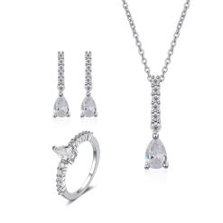 """סט תכשיטים """"קלואי"""" שרשרת, טבעת ועגילים"""