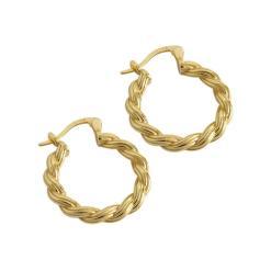 עגילי חישוק חבל זהב