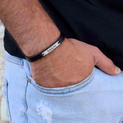 צמיד עור לגבר עם חריטה אישית