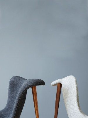 Armchair in dark and light Hallingdal wool