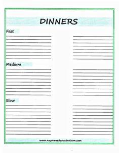 Dinner Ideas Printable