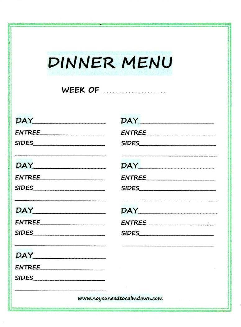 Weekly Dinner Menu-Free Printable