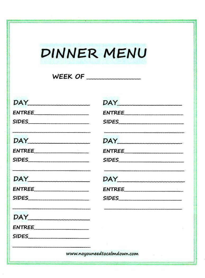 Weekly Dinner Menu-Free Printable