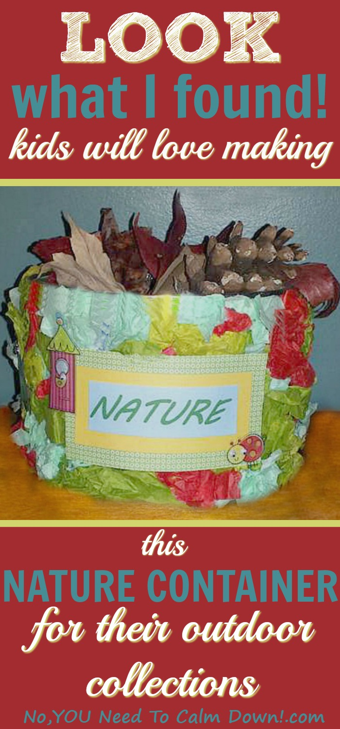 Kids start collecting at a young age. Usually rocks,pinecones, even leaves and branches, are the first thing they want to gather up and keep. All of this beautiful nature can get a little messy in the house, though. Here is a fun craft for them to make their own nature container. It catches everything at the door!