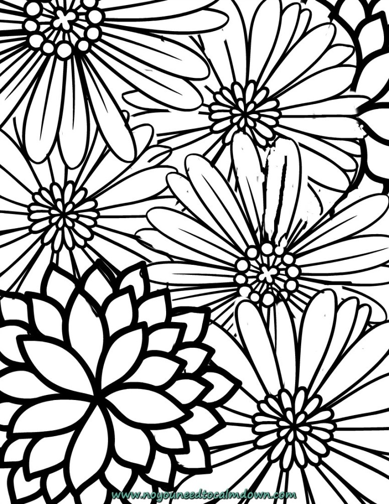 Blossoms adult coloring page