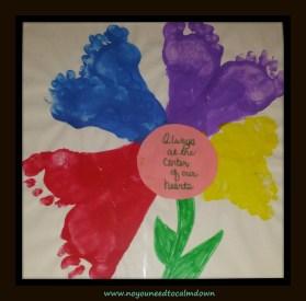 footprint flower valentine's day craft