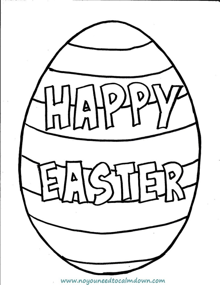 Happy Easter Egg Coloring Page for Kids Free Printable No